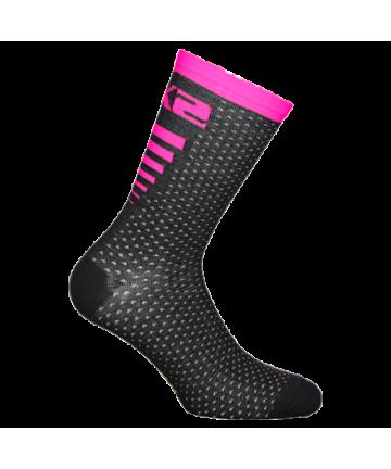 Six2 Socks Arrow Merinos Pink Fluo/Black size 43-46