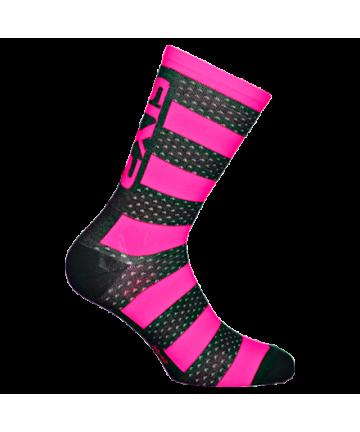 Six2 Socks Luxury Merinos Pink Fluo/Black Carbon size 43-46